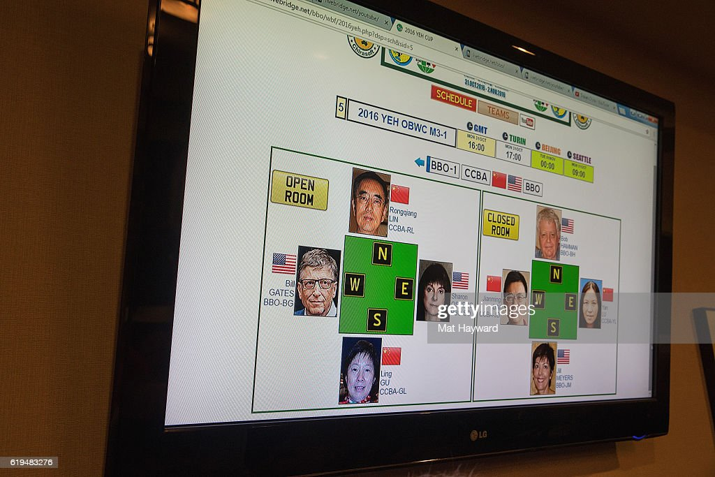General view of the first live Yeh Online Bridge World Cup featuring Bill Gates at Silver Cloud Hotel on October 31, 2016 in Seattle, Washington.
