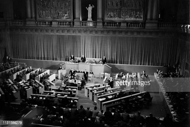 General view of the first meeting of the Consultative Assembly of the Council of Europe at the University Palace in Strasbourg, on August 10, 1949. -...