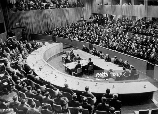 A general view of the first meeting of the Security Council of the UNO in the Hunter College Bronx New York Mr Byrnes is seen addressing delegates he...