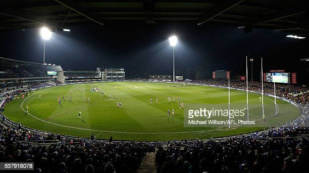 A general view of the first night match in Hobart during the 2016 AFL Round 11 match between the North Melbourne Kangaroos and the Richmond Tigers at...