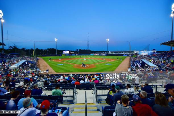 General view of the first pitch throw by Blake Snell of the Tampa Bay Rays at Charlotte Sports Park during a Grapefruit league spring training game...