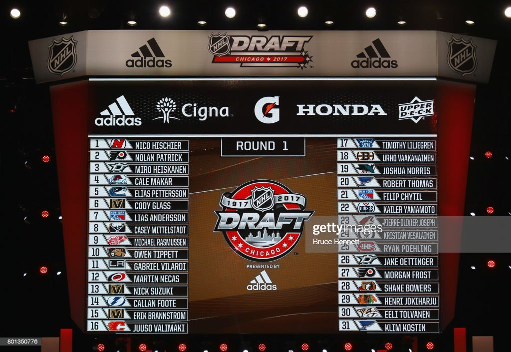 A general view of the first round draft picks board during the 2017 NHL Draft at the United Center on June 24, 2017 in Chicago, Illinois.