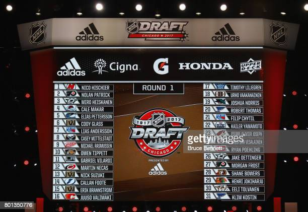 A general view of the first round draft picks board during the 2017 NHL Draft at the United Center on June 24 2017 in Chicago Illinois