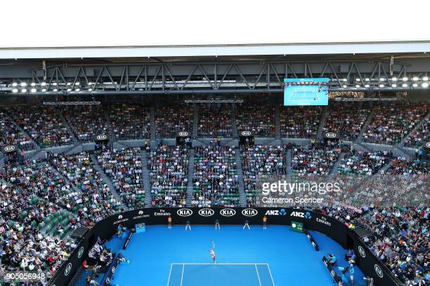 A general view of the first round match between Rafael Nadal of Spain and Victor Estrella Burgos of Dominican Republic on day one of the 2018...
