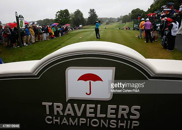 A general view of the first tee box during the final round of the Travelers Championship held at TPC River Highlands on June 28 2015 in Cromwell...