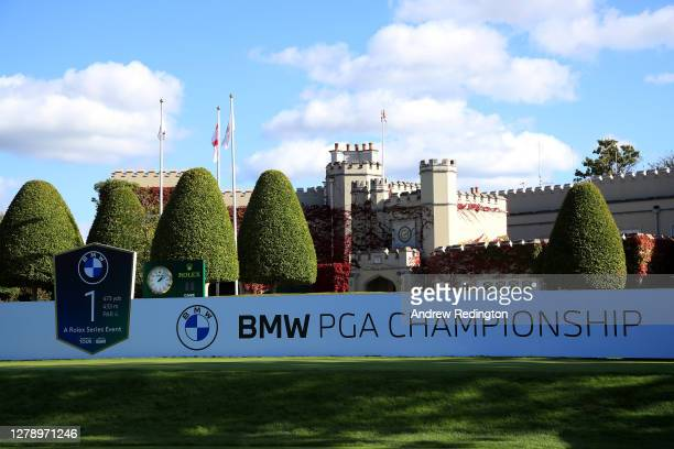 General view of the first tee during a practice round ahead of the BMW PGA Championship at Wentworth Golf Club on October 07, 2020 in Virginia Water,...