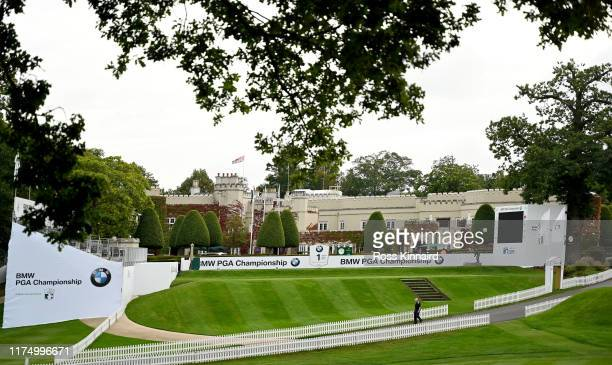 General view of the first tee during a practice round prior to the BMW PGA Championship at Wentworth Golf Club on September 16, 2019 in Virginia...