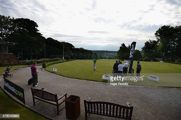 A general view of the first tee during the Golfbreakscom PGA Fourball Championship North Qualifier at Woodsome Hall Golf Course on June 24 2015 in...