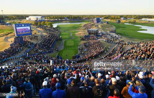 General view of the first tee during the morning fourball matches of the 2018 Ryder Cup at Le Golf National on September 29, 2018 in Paris, France.