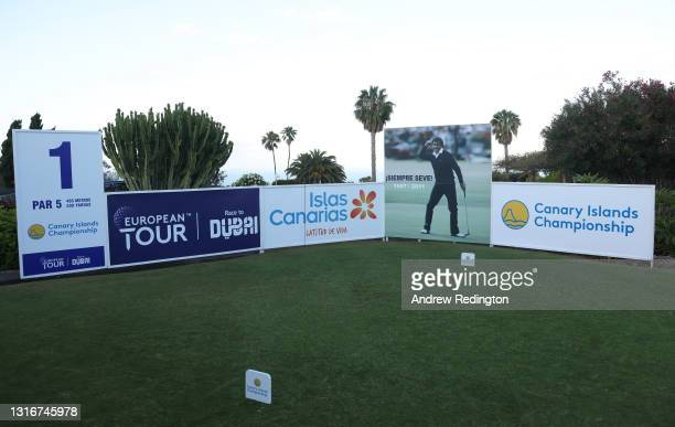 General view of the first tee featuring a photograph of Seve Ballesteros to mark ten years since his passing during Day Two of the Canary Islands...