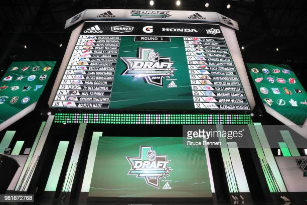 A general view of the first thirtyone selections are shown on the board after the first round of the 2018 NHL Draft at American Airlines Center on...