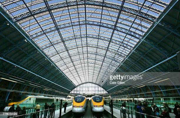 A general view of the first trains to leave from the Eurostar platform of St Pancras International station on November 14 2007 in London England The...