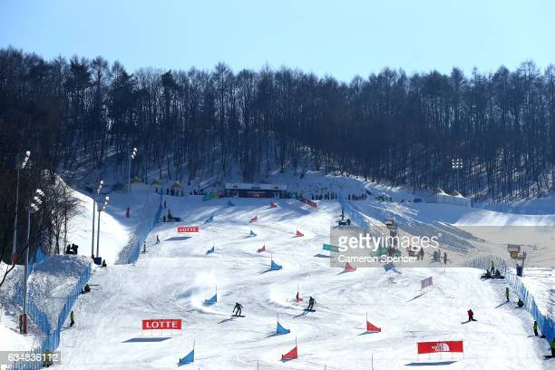 A general view of the FIS Freestyle World Cup Parallel Giant Slalom course at Bokwang Snow Park on February 12 2017 in Pyeongchanggun South Korea