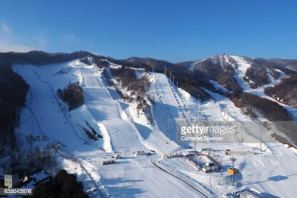 A general view of the FIS World Freestyle Cup 2016/2017 Parallel Giant Slalom Moguls and Aerials venues at Bokwang Snowpark on February 13 2017 in...