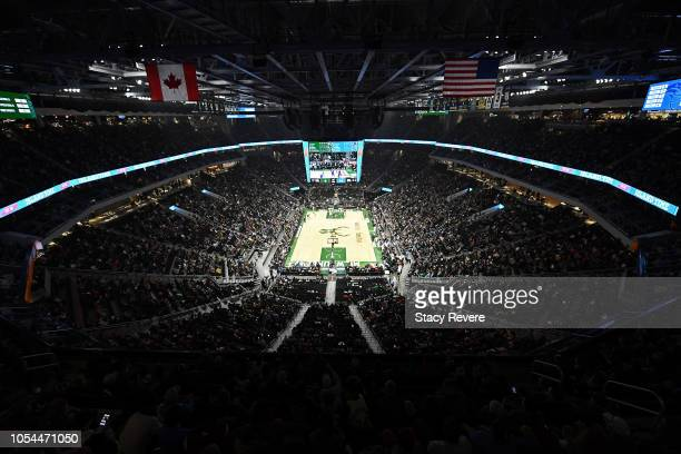 A general view of the Fiserv Forum during a game between the Milwaukee Bucks and the Orlando Magic on October 27 2018 in Milwaukee Wisconsin NOTE TO...