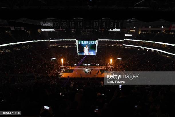 A general view of the Fiserv Forum during player introductions prior to a game between the Milwaukee Bucks and the Orlando Magic on October 27 2018...