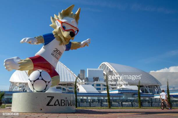 General view of the Fisht Stadium and the statue of Zabivaka the Wolf the official mascot of the 2018 FIFA World Cup prior to the start of the FIFA...
