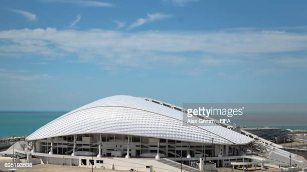 A general view of the Fisht Stadium in the Olympic Park ahead of the FIFA Confederations Cup Russia 2017 on June 12 2017 in Sochi Russia