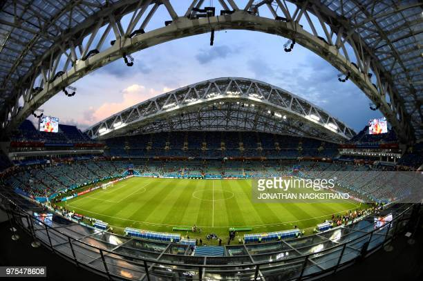 General view of the Fisht Stadium taken ahead of the Russia 2018 World Cup Group B football match between Portugal and Spain in Sochi on June 15 2018...