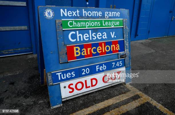 General view of the fixture board showing the Barcelona match as sold out ahead of The Emirates FA Cup Fifth Round match between Chelsea and Hull...