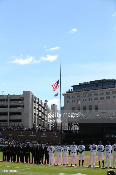 A general view of the flag raising ceremony during the opening day game between the Boston Red Sox and the Detroit Tigers on April 7 2017 at Comerica...