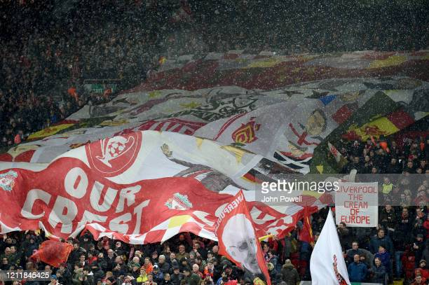 General view of the flags on the Kop before the UEFA Champions League round of 16 second leg match between Liverpool FC and Atletico Madrid at...