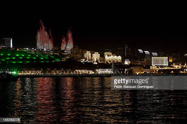 A general view of the Flame Tower during the lead up to the Eurovision Song Contest Grand Final on May 25 2012 in Baku Azerbaijan