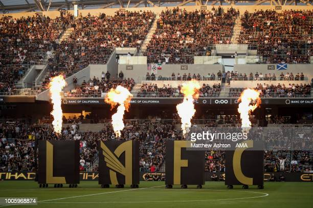General view of the flames coming out of LAFC signage prior to the MLS match between LAFC and LA Galaxy at Banc of California Stadium on July 26,...