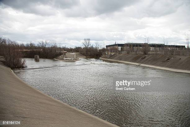 General view of the Flint River as it passes through downtown on March 17 2016 in Flint Michigan Flint continues to work through the effects of water...
