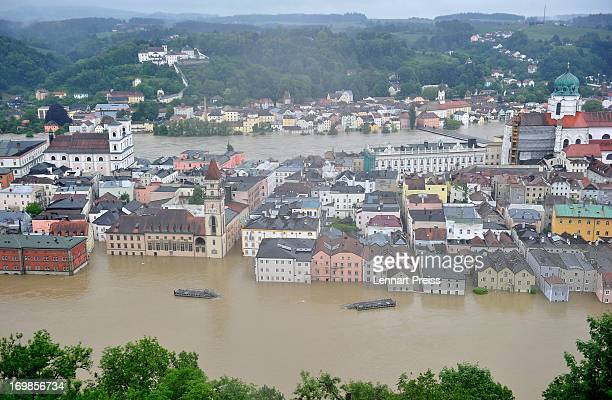 A general view of the flooded historic city center on June 3 2013 in Passau Germany Heavy rains are pounding southern and eastern Germany causing...