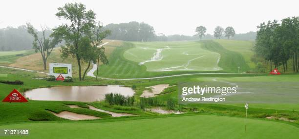 A general view of the flooded ninth hole during the rain delay at the ProAm for the HSBC Women's World Match Play Championship on The Highlands...
