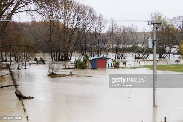 General view of the flooded rest area at Waimakariri River on May 31, 2021 in Kaiapoi, New Zealand. Heavy rain across the Canterbury region has...
