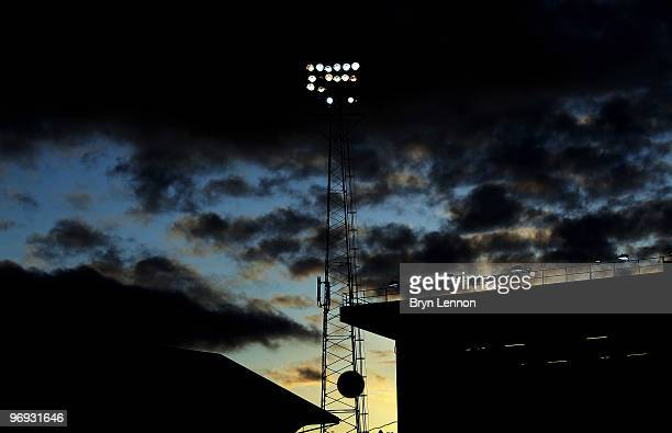 A general view of the floodlights at Fratton Park during the Barclays Premier League match between Portsmouth and Stoke City at Fratton Park on...