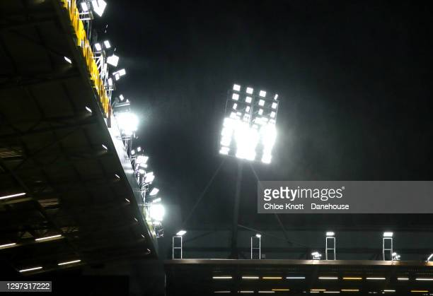 General view of the floodlights during the Sky Bet Championship match between Watford and Barnsley at Vicarage Road on January 19, 2021 in Watford,...