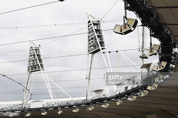 General view of the floodlights in the Olympic Stadium during the National Lottery Olympic Park Run at Olympic Stadium on March 31, 2012 in London,...