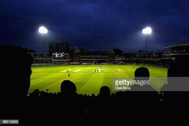 A general view of the floodlit ground during the Twenty20 Cup match between Middlesex and Kent at Lords on May 27 2009 in London England