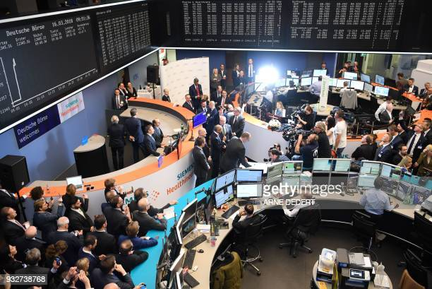 General view of the floor trading during the initial public offer of German industrial giant Siemens' Healthineers unit at the German stock exchange...