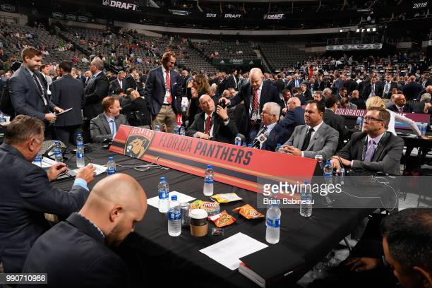 A general view of the Florida Panthers draft table is seen during the first round of the 2018 NHL Draft at American Airlines Center on June 22 2018...