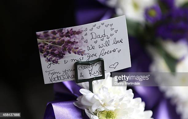 General view of the flowers at the funeral of Jack Bruce at Golders Green Crematorium on November 5 2014 in London England