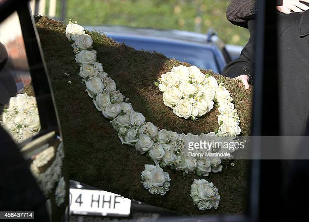 General view of the flowers going into the Crematorium at the funeral of Jack Bruce at Golders Green Crematorium on November 5 2014 in London England