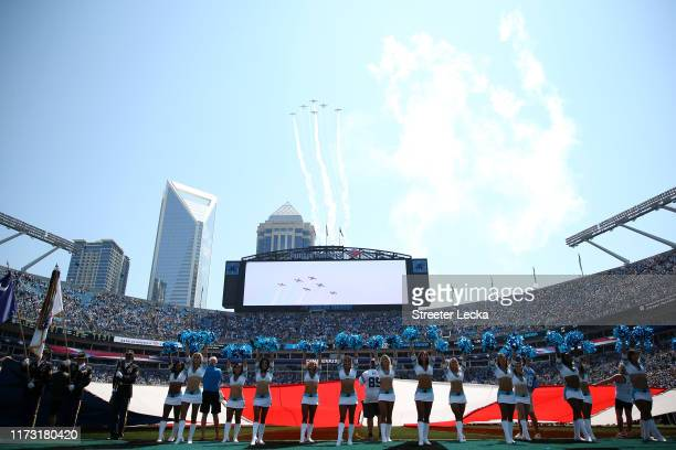 A general view of the flyover before the game between the Carolina Panthers and Los Angeles Rams at Bank of America Stadium on September 08 2019 in...