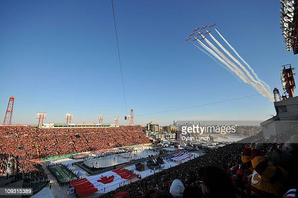A general view of the flyover by the Canadian Snowbirds prior to the 2011 NHL Heritage Classic Game at McMahon Stadium on February 20 2011 in Calgary...