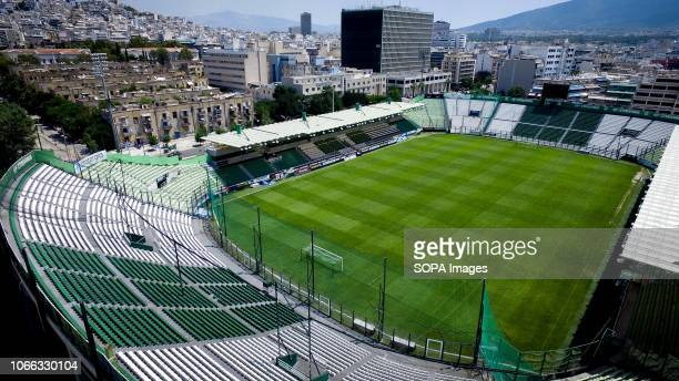 A general view of the football stadium of Panathinaikos Athletic Club which is located at the Abelokipi suburb in Central Athens