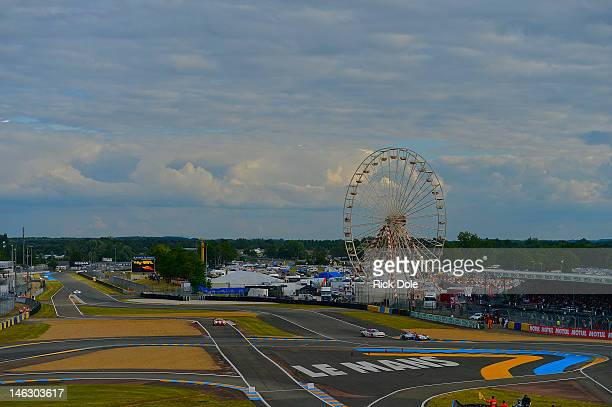 General view of the Ford Chicane section of the LeMans circuit during practice for the 80th running of the Le Mans 24 Hour race at the Circuit des 24...