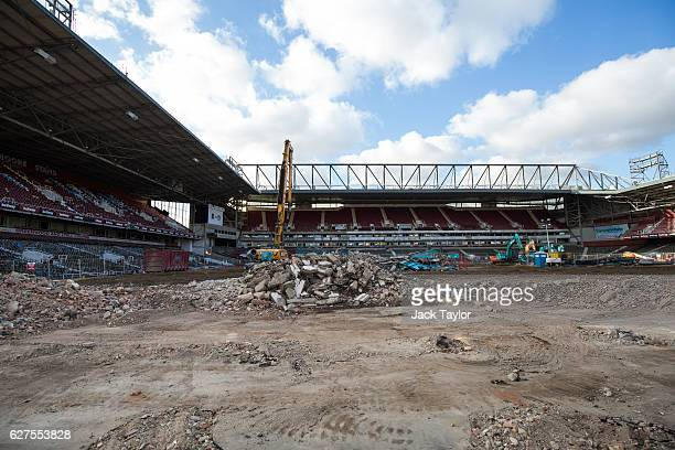 A general view of the former West Ham United Football Club stadium Boleyn Ground which is currently being demolished in Upton Park on December 3 2016...