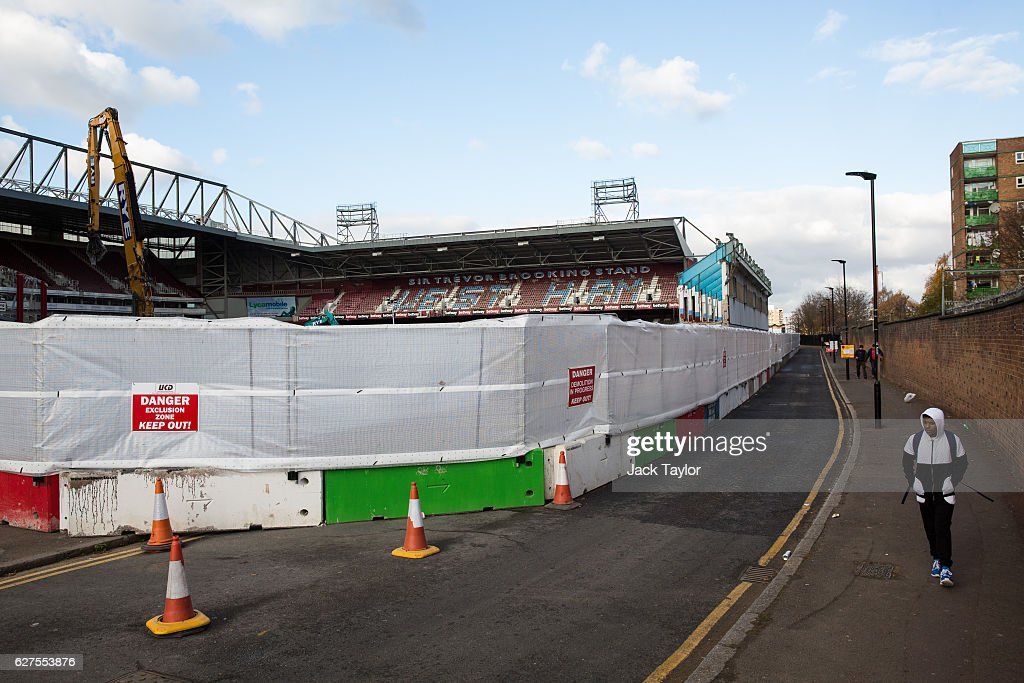 A general view of the former West Ham United Football Club stadium, Boleyn Ground, which is currently being demolished in Upton Park on December 3, 2016 in London, England. West Ham United played Arsenal in a Premier League match on December 3, which marks more than six months since the football club moved from their Boleyn Ground stadium in Upton Park to the London Stadium in Stratford. Local businesses are suffering as the former West Ham United ground is being demolished to make way for more than 800 homes.