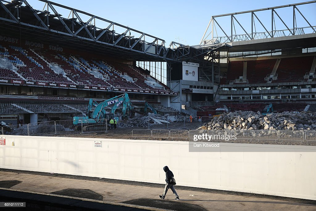 A general view of the former West Ham United Football Club stadium, Boleyn Ground, which is currently being demolished in Upton Park on January 5, 2017 in London, England. Local businesses are suffering as the former West Ham United ground is being demolished to make way for more than 800 homes.