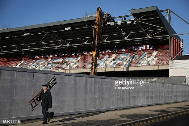 A general view of the former West Ham United Football Club stadium Boleyn Ground which is currently being demolished in Upton Park on January 5 2017...