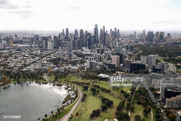 General view of the Formula 1 Australian Grand Prix track in Albert Park on April 14, 2021 in Melbourne, Australia.