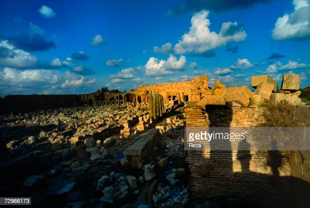 General view of the Forum ruins which was the focal point and central meeting place for the residents of Leptis Magna the largest city of the ancient...